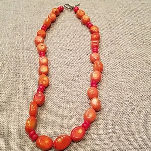 Nice Orange and Red Beaded Necklace